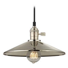 Design Classics Lighting Vintage Hoyt Polished Nickel Cone Shade Mini-Pendant Light  CA1-15 SHD2-15