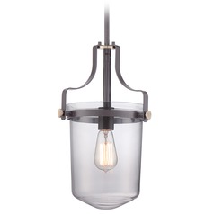 Quoizel Lighting Uptown Penn Station Western Bronze Mini-Pendant Light with Bowl / Dome Shade
