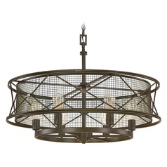 Capital Lighting Jackson Oil Rubbed Bronze Pendant Light with Drum Shade