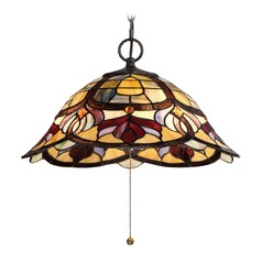 Quoizel Lighting Garland Vintage Bronze Pendant Light with Scalloped Shade