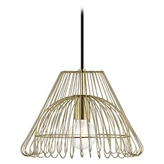 Mid-Century Modern Pendant Light Brass Mitzi Katie by Hudson Valley