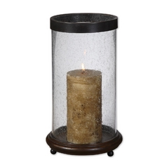 Modern Candle Holder in Antique Hickory Finish