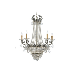 Crystal Chandelier in Historic Brass Finish