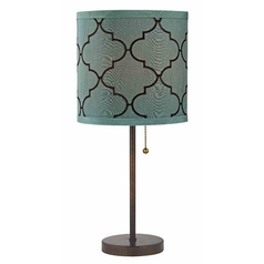Design Classics Lighting Pull-Chain Bronze Table Lamp with Marrakesh Pattern Drum Shade 1900-604 SH9529