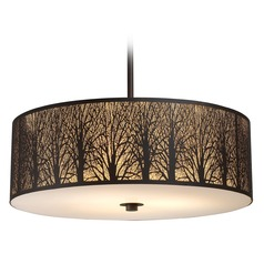 Elk Lighting Woodland Sunrise Aged Bronze LED Pendant Light with Drum Shade