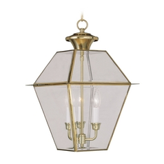 Livex Lighting Westover Polished Brass Outdoor Hanging Light