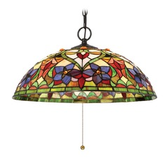 Quoizel Lighting Violets Vintage Bronze Pendant Light with Bowl / Dome Shade