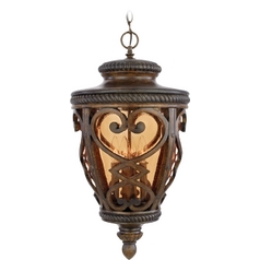 Outdoor Hanging Light with Amber Glass in Antique Brown Finish