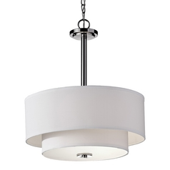 Modern Drum Pendant Light with White Shades in Polished Nickel Finish