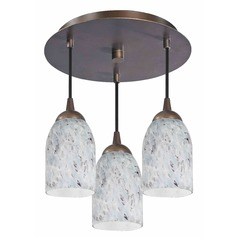 Design Classics Lighting Modern Semi-Flushmount Ceiling Light with Art Glass in Bronze Finish 579-220 GL1025D