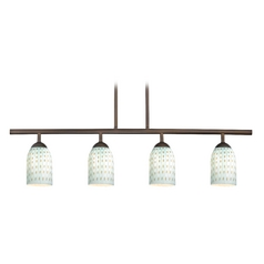 Design Classics Lighting Modern Island Light with Blue Glass in Neuvelle Bronze Finish 718-220 GL1003D