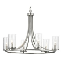 Seeded Glass Chandelier Satin Nickel 6-Lt