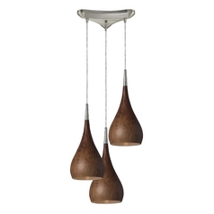Modern Multi-Light Pendant Light with Wood Shades and 3-Lights