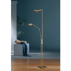 Holtkoetter Modern Torchiere Lamp in Brushed Brass Finish