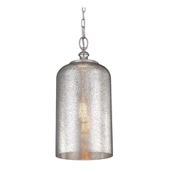 Feiss Lighting Hounslow Polished Nickel Mini-Pendant Light with Cylindrical Shade