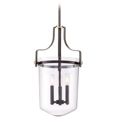 Quoizel Lighting Uptown Penn Station Western Bronze Pendant Light with Bowl / Dome Shade