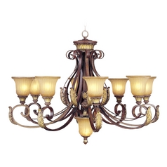 Livex Lighting Villa Verona Bronze with Aged Gold Leaf Accents Chandelier