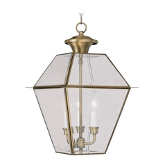 Livex Lighting Westover Antique Brass Outdoor Hanging Light