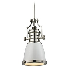 Elk Lighting Chadwick Gloss White/polished Nickel Mini-Pendant Light with Bowl / Dome Shade