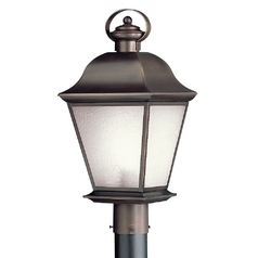 Kichler Post Light with White Glass in Olde Bronze Finish
