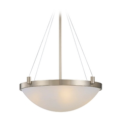 Modern Pendant Light with White Glass in Brushed Nickel Finish