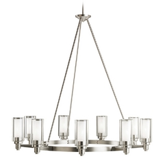 Kichler Modern Chandelier with Clear Glass in Brushed Nickel Finish