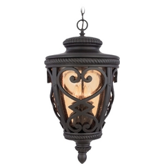 Outdoor Hanging Light with Amber Glass in Marcado Black Finish