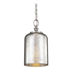 Mercury Glass Mini-Pendant Light Brushed Steel Feiss Lighting