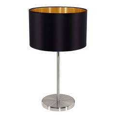 Eglo Maserlo Matte Nickel Table Lamp with Drum Shade