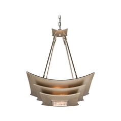 Modern Pendant Light with White Glass in Tranquility Silver L Finish