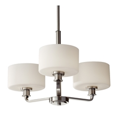 Modern Mini-Chandelier with White Glass in Brushed Steel Finish