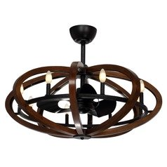 Maxim Lighting Fandelier Antique Pecan and Anthracite LED Ceiling Fan with Light