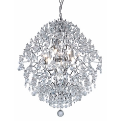 Modern Crystal Chandelier Pendant Light in Chrome