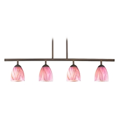 Modern Island Light with Pink Glass in Bronze Finish