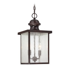 Seeded Glass Outdoor Hanging Light Bronze Savoy House