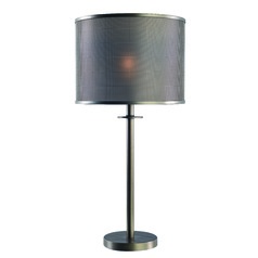 Grater Graphite Table Lamp with Drum Shade by Kenroy Home