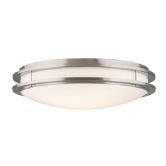 Modern Flushmount Light with White Glass in Satin Nickel Finish