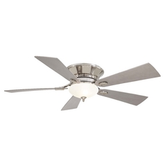 52-Inch Ceiling Fan with Light with White Glass in Polished Nickel Finish