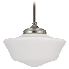 16-Inch Satin Nickel Schoolhouse Pendant Light