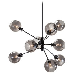 Mid-Century Modern Pendant Light Smoked Grey Glass by Nuevo Lighting