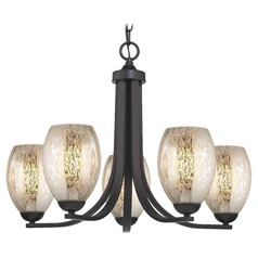 5-Light Chandelier with Mercury Oblong Glass in Bronze