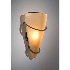 Holtkoetter Modern Sconce Wall Light with Beige / Cream Glass in Hand-Brushed Old Bronze Finish