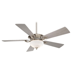 52-Inch Ceiling Fan with Light with White Glass in Polished Nickel with Silver Blades Finish