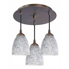 Design Classics Lighting Modern Semi-Flushmount Ceiling Light with Art Glass in Bronze Finish 579-220 GL1025MB