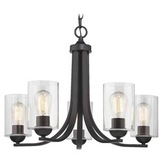 Bronze Chandelier with Clear Cylinder Glass and 5-Lights