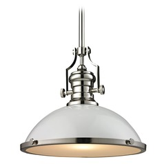 Elk Lighting Chadwick Gloss White/polished Nickel Pendant Light with Bowl / Dome Shade