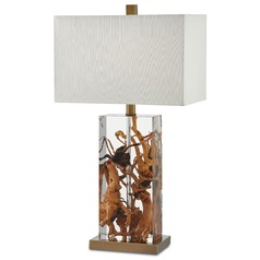 Currey and Company Durban Natural/clear/antique Brass Table Lamp with Rectangle Shade