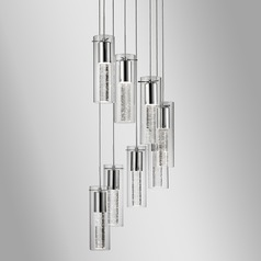 Modern Chrome LED Multi-Light Pendant with Clear Shade 3000K 4800LM