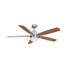 Modern Ceiling Fan with Light with White Glass in Polished Nickel Finish