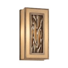 Sconce Wall Light with Beige / Cream Shades in Bronze Leaf Finish